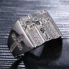 Crucifix Cross Ring 925 Silver Christian Catholic Jesus Symbol Men Size 7 8 9