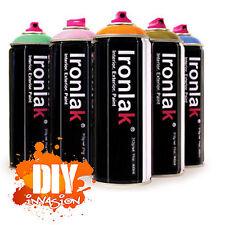 IRONLAK 12 Pack Spray Paint Graffiti Street Art Mural Aerosol Can Many Colours