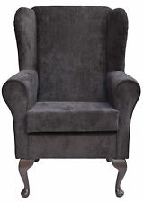 Wingback Fireside Chair in a Topaz Charcoal Fabric - Brand New