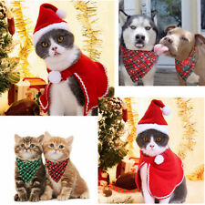 Christmas Xmas Pet Cat Dog Food Scarf Clothes New Year Puppy Outfit Winter Hat