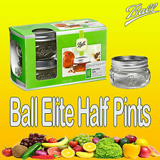 4 x Ball Mason Half Pints Elite Collection (240ml) Wide Mouth Jars with Lids