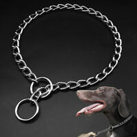 Slip Training Collars for Dogs Stainless Steel P Choke/Check Chain Collar Silver