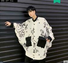 Men's Gothic Punk Printed Batwing Sleeve Shirt Youth Casual Loose Shirt White N5
