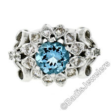 Fancy Vintage 14K White Gold 2.85ctw Round Aquamarine Diamond Dome Cocktail Ring