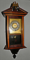 "Antique Junghans Mini German wall clock Vienna regulator 4x6x16.5"" finial /eagle"