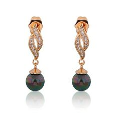 Woman distinctive pearl 18k gold filled  charming  ladies black sapphire earring