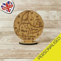 Personalised I Will Always Love You Moon Stars Circle Stand Up Plaque Engraved