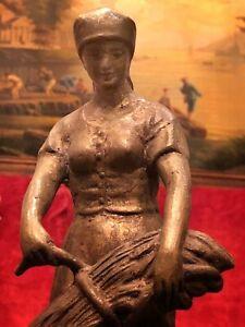 Antique Clock Topper Figure Heavy Metal Lady Wheat Harvest