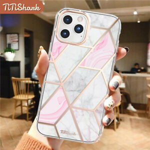 Fr iPhone 12 11 Pro Min XS Max XR 8 7 Plus SE Case Clear Marble Shockproof Cover
