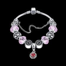 925 Hallmark Sterling Silver SF Charm Glass Bead Lady Flora Pink Bracelet BL350