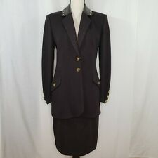 St John Collection Size 6 Sweater Suit 10 Skirt Santana Brown Leather Trim