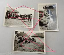 original Foto 3 Stück  schwerer Schlepper mit Geschütz russisch Russland