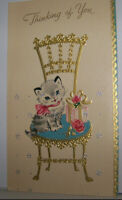 Vintage Greeting Card Thinking Of You Adorable Kitten Cat Present Rose Chair