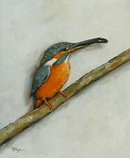 Original Oil painting - wildlife - bird art - kingfisher  - by j payne