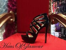"REDUCED Black Patent Sexy Gladiator Style Platform 6"" Party Heels"