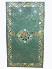 4'x2' Marble Green Dining Table Top Hakik Precious Floral Marquetry Inlay B202A