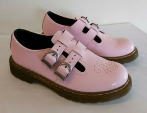 Dr Doc Martens Pink Patent Leather Double Strap Mary Jane Shoes 8065 Size 3
