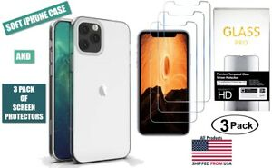 Bundle of Clear TPU iPhone Case and [3 pack] of Screen Protectors