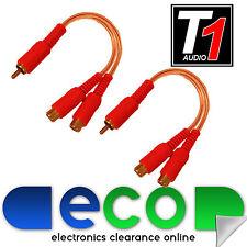 T1 Car Audio Amp claro Ofc Rca Phono Amplificador Splitter 1 Macho 2 Hembra (par)