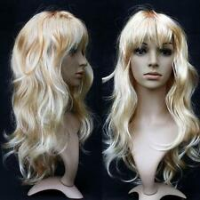 Women Long Curly Wavy Wig Cosplay Costume Party Fancy Dress Blonde UK