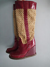 gazith  boots SHOES Sz 38 ,LEATHER maroon WEDGE