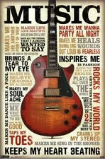 Music Inspires Me Poster 22 x 34in Quotes Motivational Guitar Posters