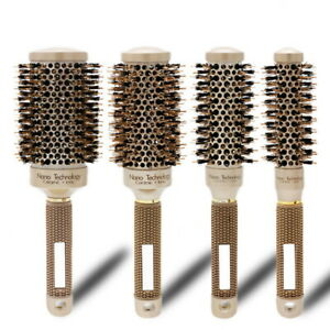 Thermal Professional Ceramic And Ionic Round Barrel Hair Brush Boar Bristle US`