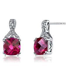 14K White Gold Created Ruby Earrings Ribbon Design Cushion Cut 6.00 ct