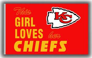 Kansas City Chiefs Flag This Girl Loves her CHIEFS 90x150cm3x5ft Football banner