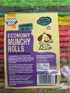 "DOG CHEWS ECONOMY MUNCHY ROLLS STICKS TREAT PACK 50/100 MIXED STICKS 5"" X 7-8MM"