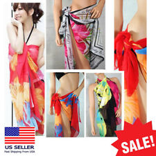 Sexy Chiffon Wrap Pareo Dress Sarong Beach Bikini Swimwear Cover Up Scarf OS US