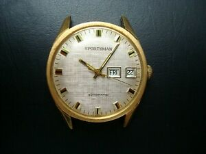 Sportsman Men's Automatic Watch 17 Jewels Mesh Dial Day Date Germany 1970's Runs