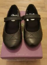 CLARKS DANCE ROXY INFANT SIZE 7 G GIRLS SCHOOL SHOES BLACK LEATHER NEW IN BOX
