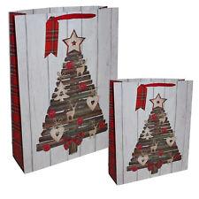 Christmas Present Gift Bag with Tag - Wood Tree - Choose Size
