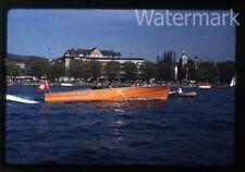 1958 red  kodachrome photo slide Zurich Switzerland  boat