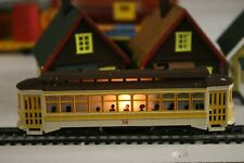 HO SCALE BACHMANN TROLLEY CAR #36 LIGHTED (RUNS GREAT -SEE VIDEO)