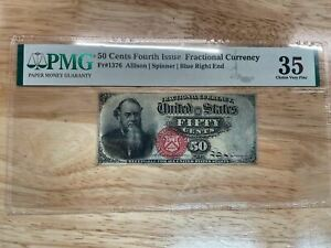 US 50 Cents, Fourth Issue Fractional Currency FR#1376 PMG 35 (Choice Very Fine)