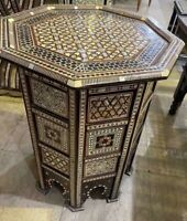Handmade End Table Side Table wood Inlaid Mother of Pearl