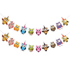 cartoon owl paper flag birthday party decoration banner bunting for children ue