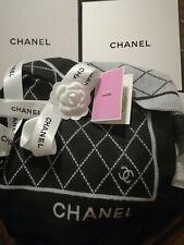 CHANEL CC Monogram Logo Scarf Long Shawl Cashmere Reversible Grey Black Winter