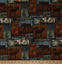 Northwoods Animals Mountain Pines Lodge Cabin Cotton Fabric Print BTY D685.33