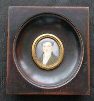 Oval Portrait of Gentleman Miniature Painting 19th C.