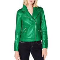 INC NEW Women's Faux-leather Zip-up Motorcycle Jacket Top TEDO