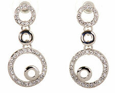 Swarovski Elements Crystal Loops Pierced Earrings Rhodium Plated New 7129y