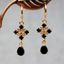 18K Yellow Gold Filled - Women Square geometric black gem Hoop Party Earrings