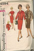 4594 Vintage Simplicity Sewing Pattern Misses One Piece Dress Jacket 16 OOP 60's