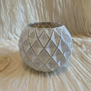 NEW! Votive Candle Holder, Glass Quilted Diamond Pattern.  Gold/Ivory Finish