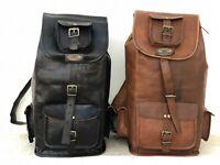 Brown/Black Goat Leather Backpack Bag Men Travel Laptop School Shoulder Rucksack