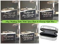 Silver PERSONALISED Wedding Cufflinks Cuff Links Gift Best Man Groom JP1ALUX