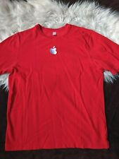 Apple Red Embroidered Short Sleeve Knit T Shirt Employee Staff Size Medium